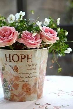 pink roses splashed with small white flowers potted in a tin pot with a quote of hope printed on the side