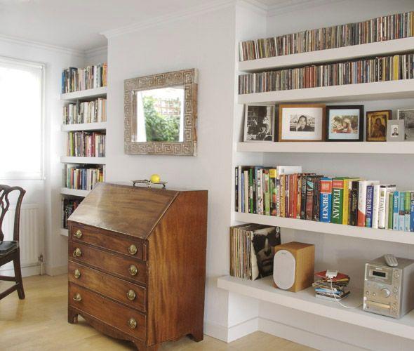 Alcove shelves flat renovation 64 pinterest for Living room shelving designs