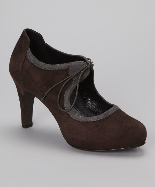 Take a look at this Brown & Charcoal Lucia Pump on zulily today
