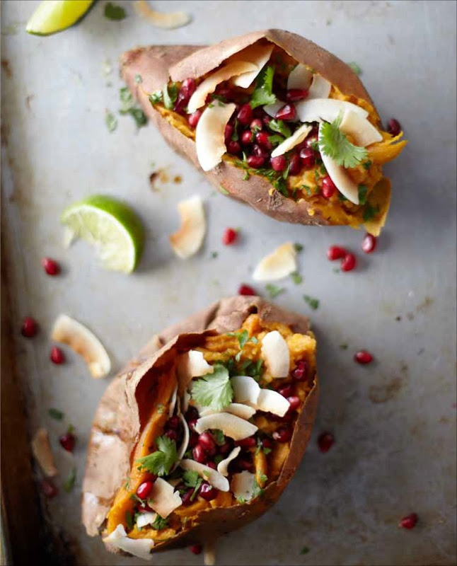 Sweet Potatoes with Coconut, Pomegranate, and Lime - Roasted sweet ...