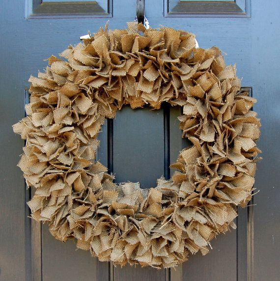 Burlap wreath - $59 by TheSimpleStandard on Etsy. Love the neutral look - could work for any season.