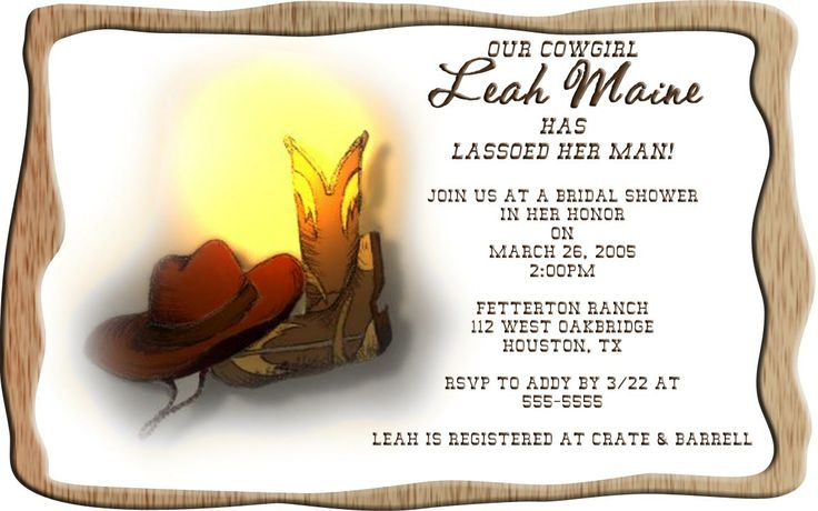 wedding bridal shower country western invitations