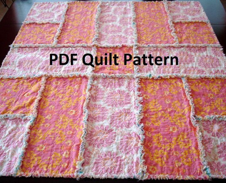 Quilting Patterns Instructions : PDF Rag Quilt Pattern - Simple Reverse Rag Quilt - easy instructions