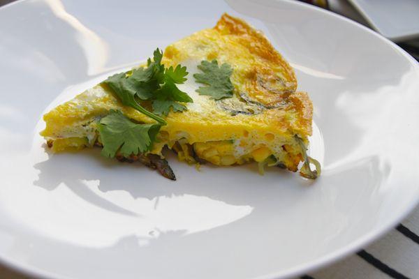Zucchini Frittata - onion, zucchini, corn, eggs, (jalapeno in phase 6 ...