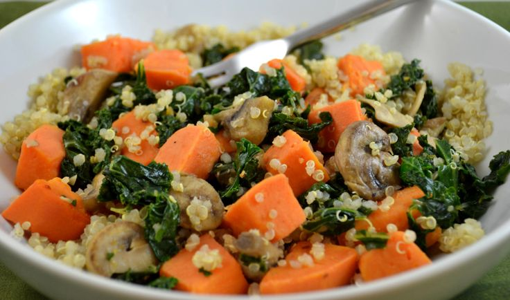 Quinoa with sweet potato and kale   Allergy friendly lunch/dinner   P ...