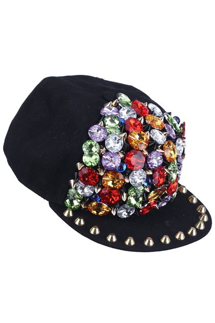 Studed ''Fake Diamonds'' Black Hat $31.89