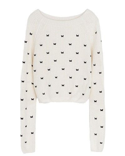 Sweater with Embroided Butterfly