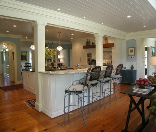 Traditional Island Style Teal kitchen, white cabinets, Chip Knuth and