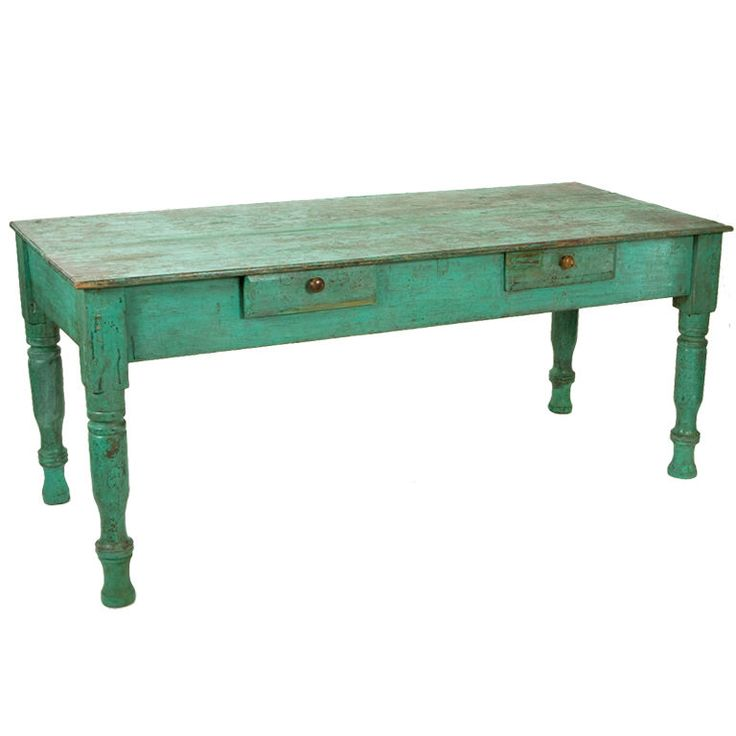 Antique Painted Farm Table Green Patina
