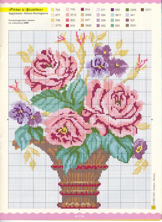Вышивки крестом цветы в вазе схема 91