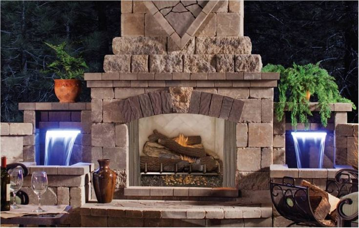 Outdoor fireplace with waterfalls outdoor living pinterest for Where to buy outdoor fireplace