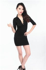 OM CRAZY Women s Sexy Stand Collar with Golden Button Dress $19.00