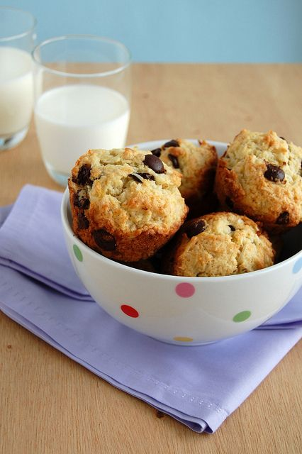 , chocolate and coconut muffins / Muffins de banana, coco e chocolate ...