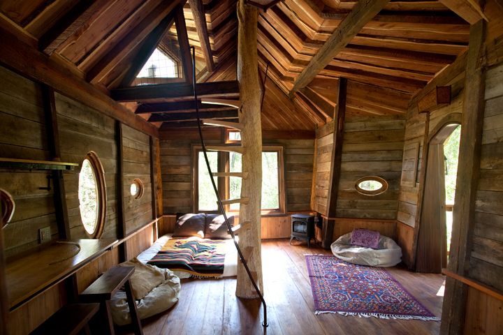 the inside of a beautiful tree house for the home