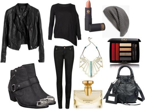 AllSaints pullover shirt / Leather jacket / Ted Baker skinny leg jeans
