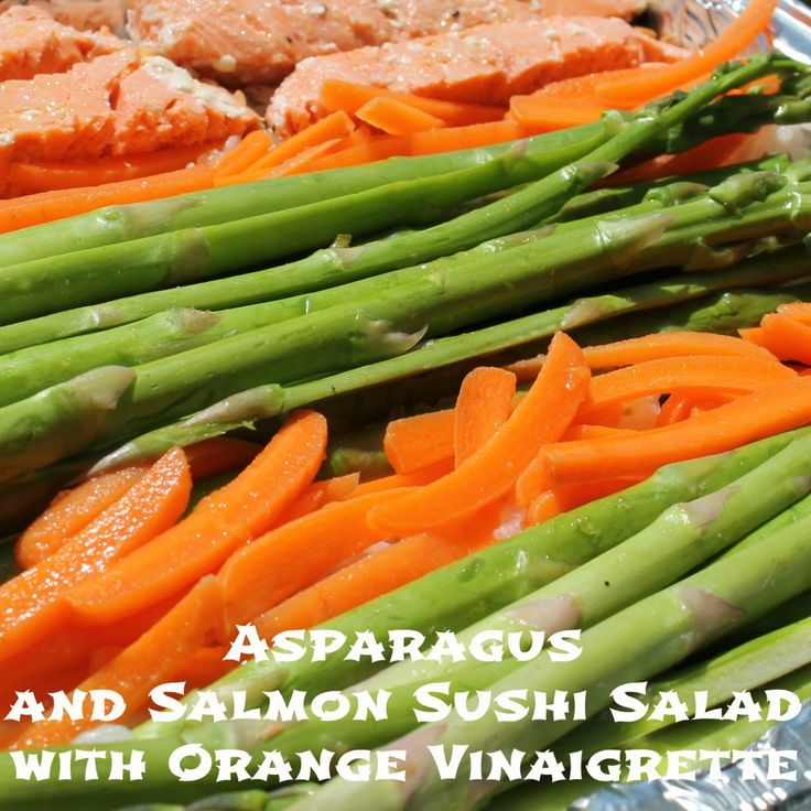 Asparagus and Salmon Sushi Salad with Orange Vinaigrette - cooking for ...