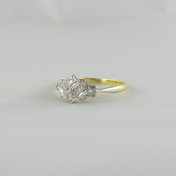 Antique Diamond Engagement Ring Rectangular Setting Studded with Dia…