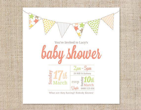 printable baby shower invitation template bunting. Black Bedroom Furniture Sets. Home Design Ideas