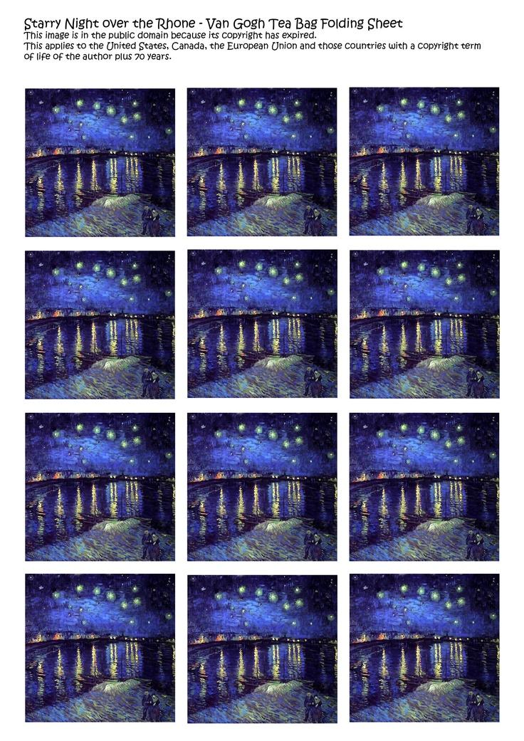 free-tea-bag-folding-printable-sheet-van-gogh-starry-night-over-rohone ...