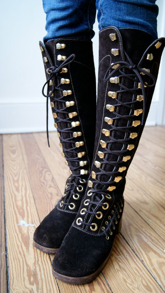 60s 70s knee high boots vintage leather lace up boots