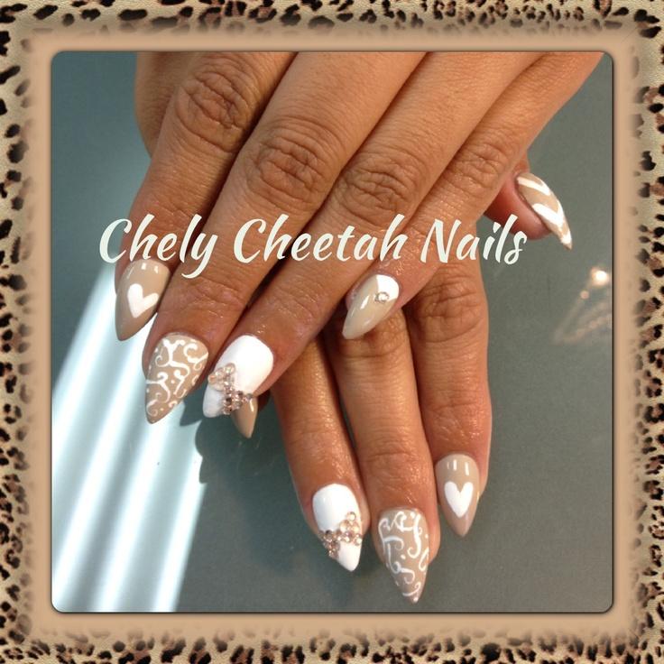 White Almond Nail Designs