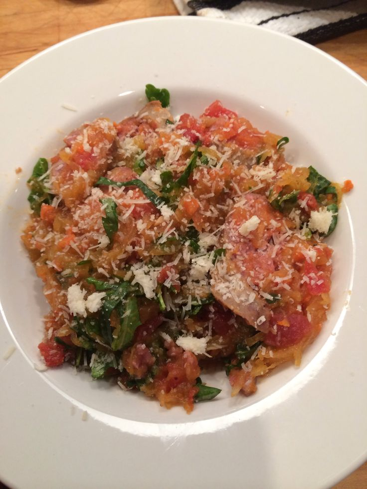 ... , roasted garlic, basil, tomato sauce with spaghetti squash. #nocarbs