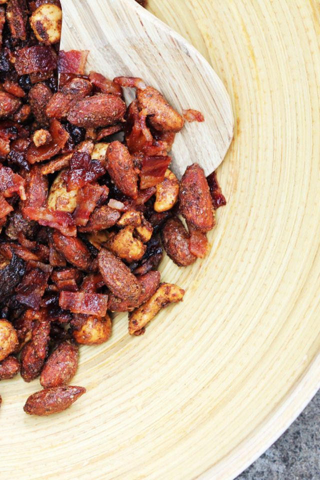 Spiced Mixed Nuts with Sugared Bacon | Yummmm...Snacks | Pinterest