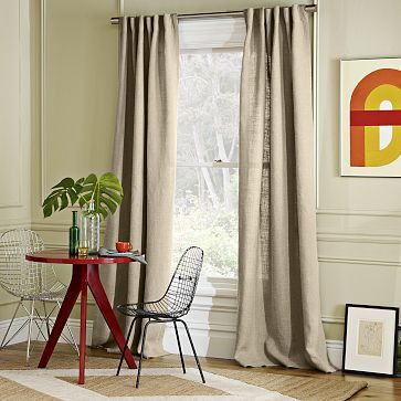 Beige And White Striped Curtains Sheer Linen Curtain Panels