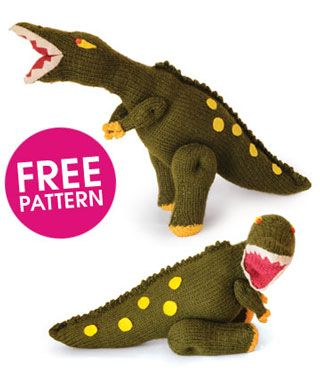 Free Dinosaur Knitting Pattern : Free pattern: knit a dinosaur Mollie Makes (another item that makes we want...