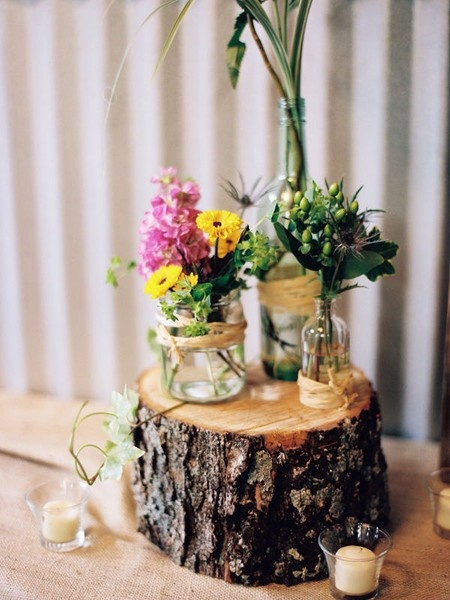 tree stump wedding centerpiece nuptial imaginings
