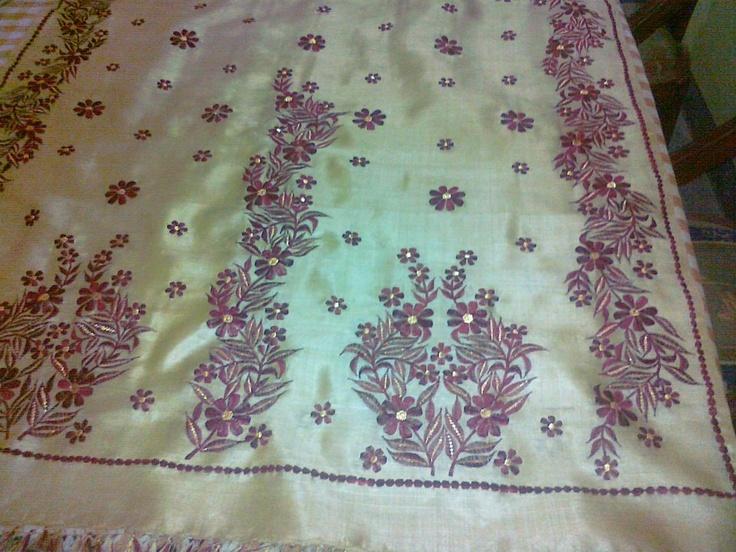 Embroidery work on assam silk pinterest
