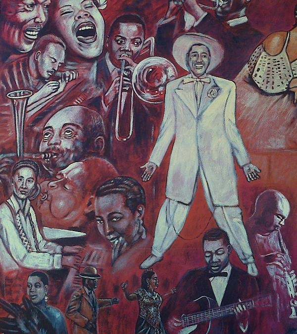 detail of african american mural print by george pedro