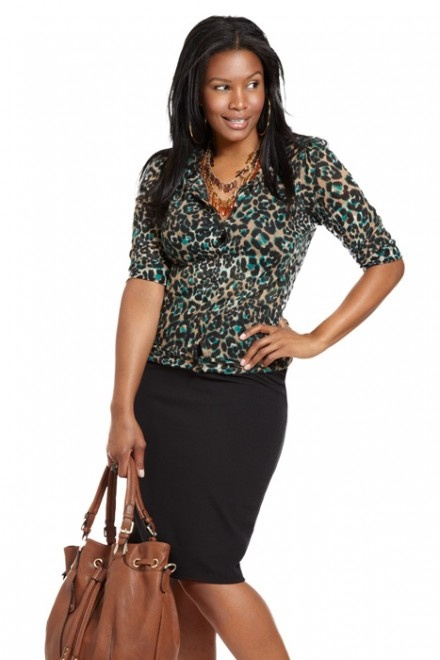 plus size stretch pencil skirt travel wear office