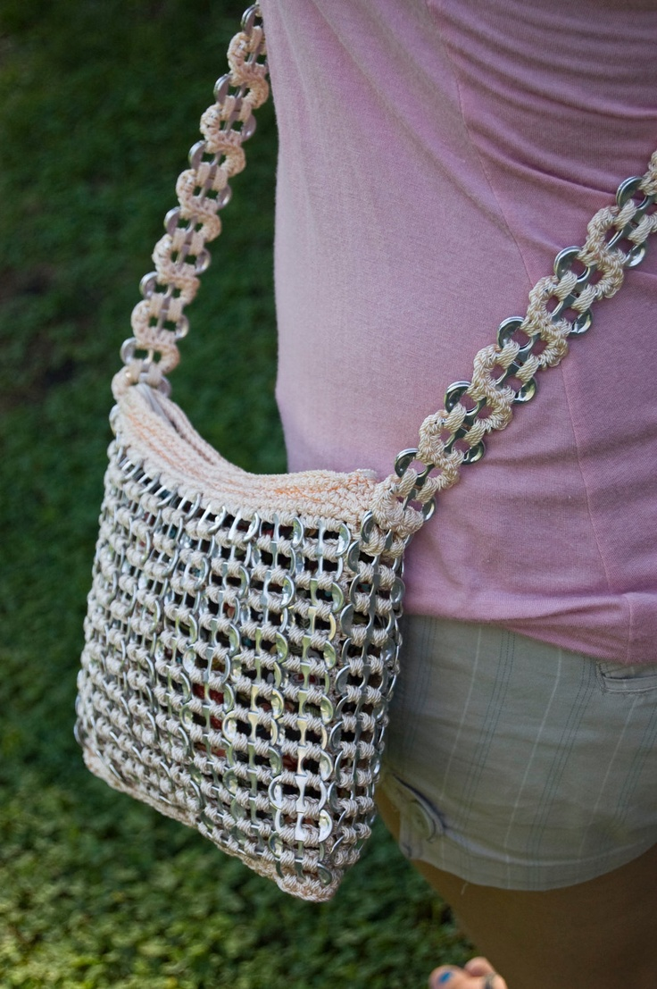 Crochet Bag Strap : ... Peach Upcycled Crochet Long Strap Pop Tab Bag. $40.00, via Etsy