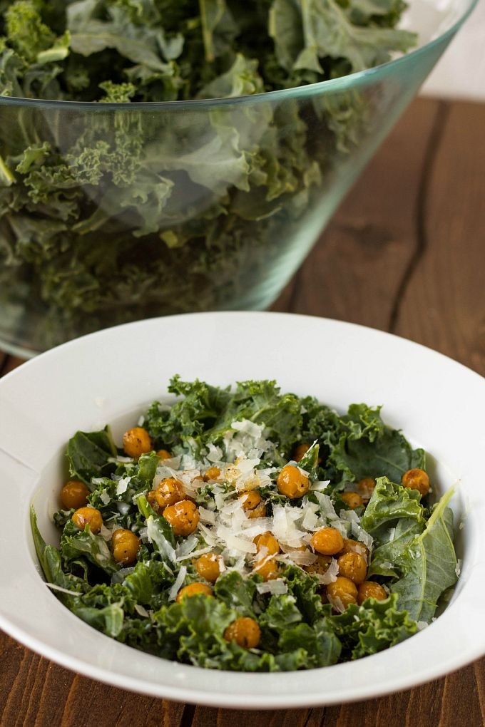 "Vegetarian Kale Caesar Salad with Chickpea ""Croutons."""