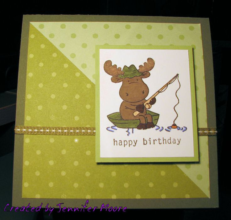 Happy birthday card with fishing riley cards stampin for Fishing birthday cards