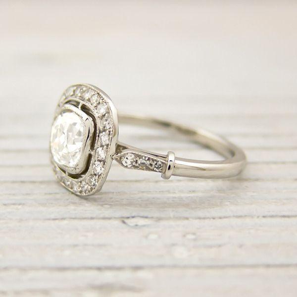 Vintage cushion cut engagement ring