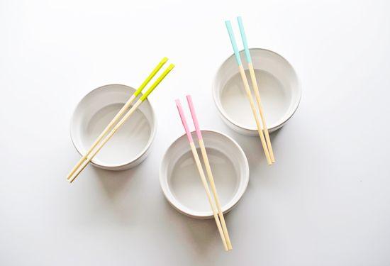 diy: paint dipped chopsticks from poppytalk
