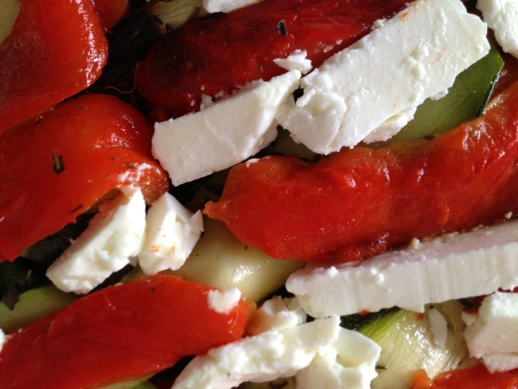 ... lasagna layer, in layers, with lots of Feta or other goat cheese