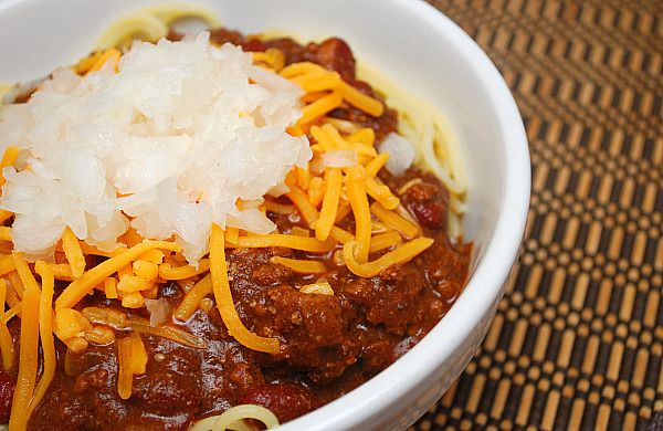 "Cincinnati Chili"" recipe-- except I'll make it without the beans ..."