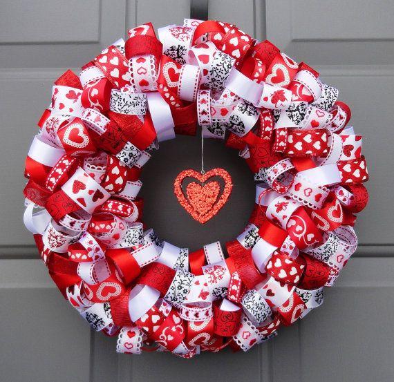 valentine's day ribbon wreath