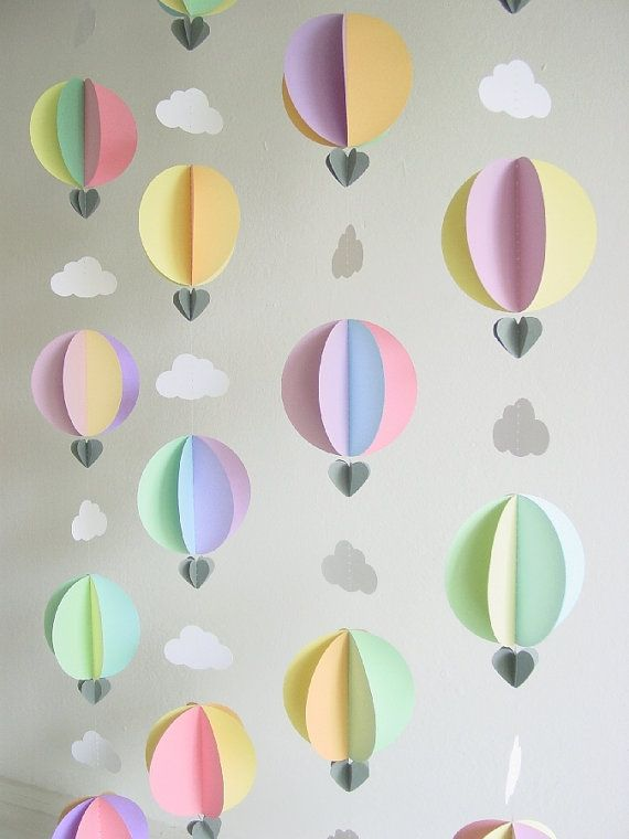 Garland-Hot Air Balloons & Clouds-3D-Pastel Colours-Mobile-Nursery Decor-Kids-Baby Shower-Decoration-Birthday-Children-Crib Mobile-Paper