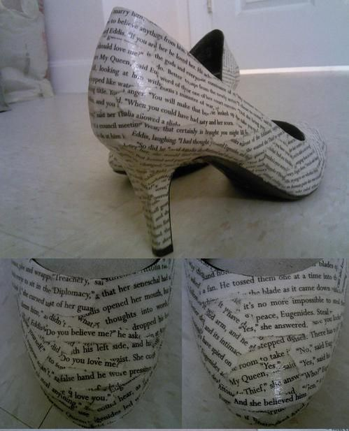 Textual shoes-perfect for lovers of written words. I MUST MAKE THIS.