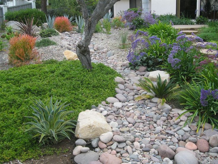 Dry river beds dry creek riverbeds pinterest for Dry garden designs
