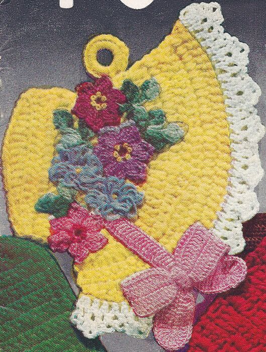 Vintage Crochet PATTERN Pot Holder Fancy Easter Bonnet