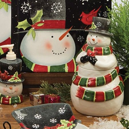 Jolly Snowman Ceramic collection - we love that cookie jar! #Christmas ...