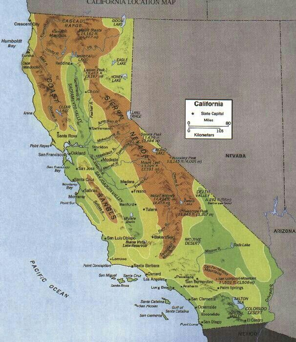 California  Mountain Ranges  GeA  Pinterest