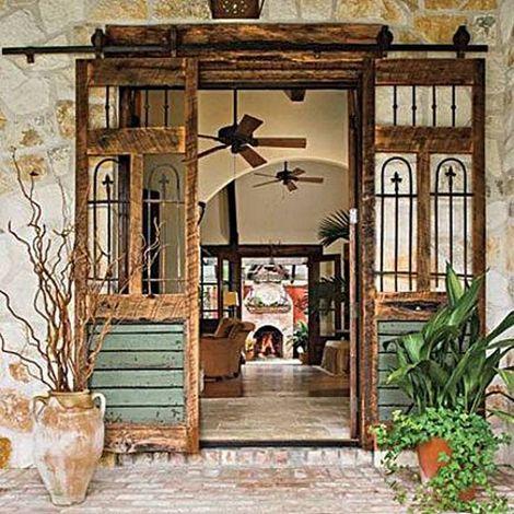Puerta antigua como corredera 5 Reutilizar una puerta antigua de madera como corredera