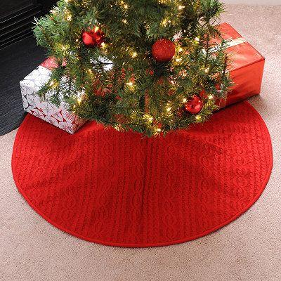Knitting Pattern Christmas Tree Skirt : Red Knit Tree Skirt Christmas Cheer Pinterest