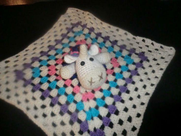Unicorn Security Blanket baby crochet Pinterest